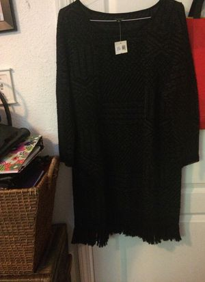Lucky Brand Black & Gray dress with fringe hem size xl new with tag for Sale in Martinez, CA