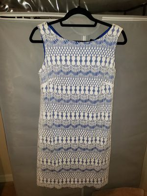 Lace Dress size 8 white blue new without tags for Sale in Tampa, FL