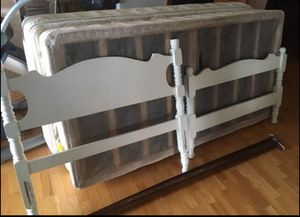 Twin Bed Includes: Head & Footboard, Rails, Mattress & Box Springs. for Sale in Arvada, CO