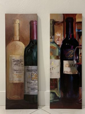 2 Large wine canvas paintings 35.5x 12 for Sale in Miami, FL