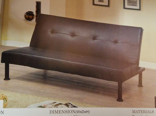 black Leather Futon Sofa bed ( new )