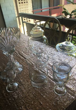 Rose gold tablecloth , 6 candy jars. for Sale in Falls Church, VA