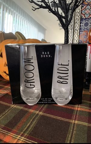Rae Dunn Groom and Bride Stemless Flutes for Sale in Anaheim, CA