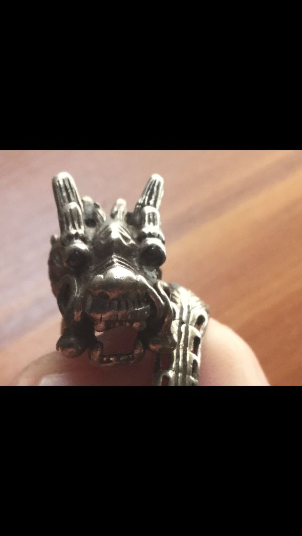 Vintage silver dragon ring