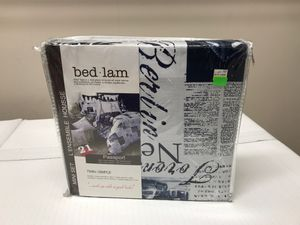 """New Twin Duvet & Pillow Sham Set """"Passport"""" Blue & White Reversible for 2 Looks in One for Sale in Wake Forest, NC"""