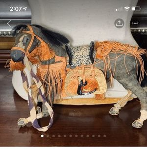 Wood Horse Figure with Real Fur Hair Vintage for Sale in Beaverton, OR