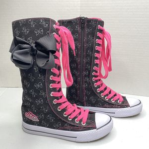JoJo Siwa Girls Sz 2 Legacee Knee High Sneakers Pink Black Bow Lace Up Zipper for Sale in Angleton, TX