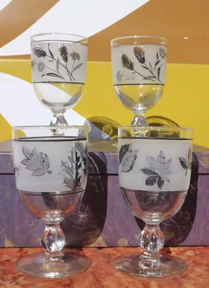 Set of vintage frosted botanical goblets for Sale in Nambe, NM