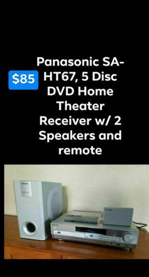 Panasonic SA-HT67, 5 Disc DVD Home Theater Receiver w/ 2 Speakers and remote for Sale in Mesa, AZ