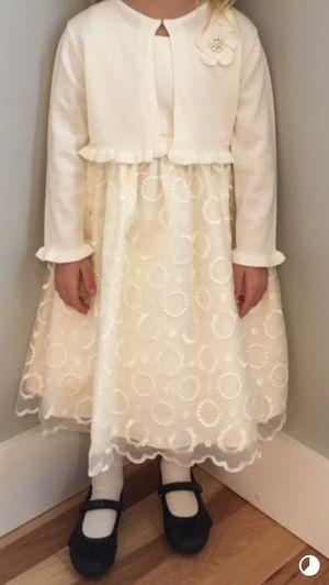 Ivory flower girl dress for wedding with sweater for Sale in Elizabethton, TN