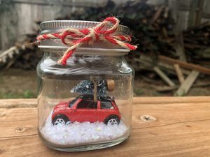 Small glass jar with mini Cooper car and Christmas tree for Sale in Gresham, OR