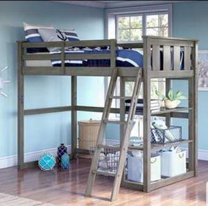 NEW!! Twin Sz Loft Bed w/Storage Shelves, GREY, Solid Wood Pine for Sale in Humble, TX
