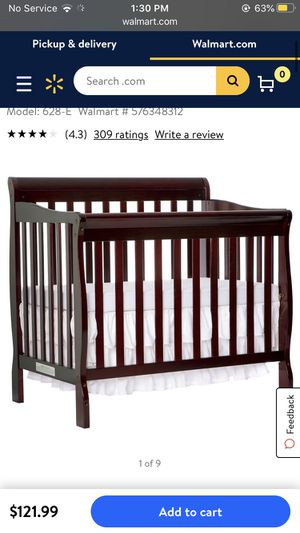 Burgundy Baby Crib for Sale in Carneys Point Township, NJ