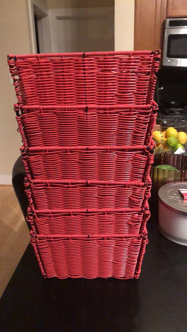 6 red storage basket organizers