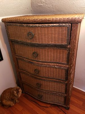 5-Drawer Wicker Dresser and Matching End Table for Sale in Portland, OR