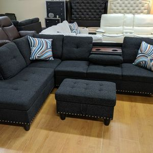 No Credit Needed No Money Down Black Gray Linen Sectional Set for Sale in Hyattsville, MD
