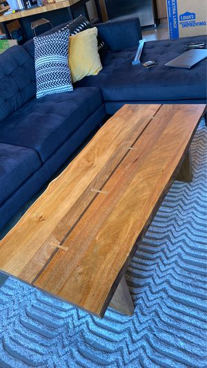 Live edge solid wood coffee table with brass inlay for Sale in Atlanta, GA