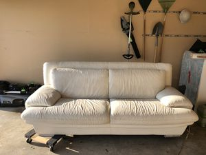 White leather couch for Sale in Keller, TX