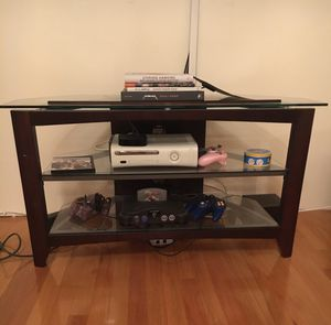 Wood/Glass TV Stand and Media Console for Sale in North Bergen, NJ