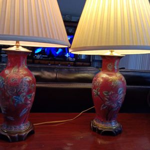 Vintage Chinese Porcelain Lamps Set With Shade for Sale in Boynton Beach, FL