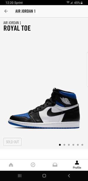Nike Air Jordan 1 Royal Toe - Size 10.5 and 12 for Sale in Bridgeport, CT