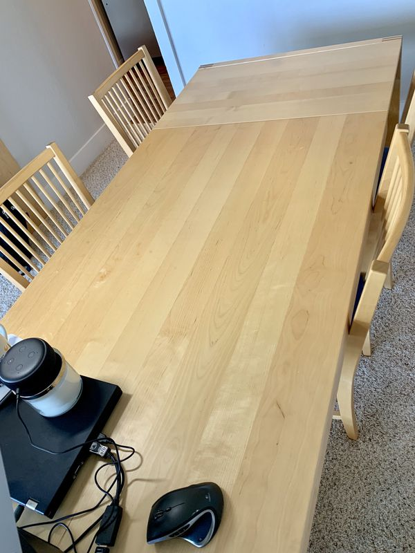Solid Pine Dinner Table, 4 chairs, bookshelf