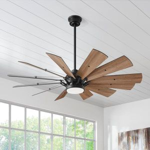 Home Decorators Collection Trudeau 60 in. LED Indoor Matte Black Ceiling Fan with Light Kit and Remote Control LIKE NEW for Sale in Plantation, FL
