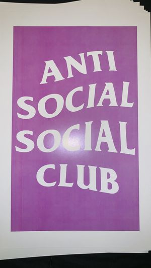 Pink anti social social club print and poster in 11x17 inch glass frame for Sale in La Puente, CA