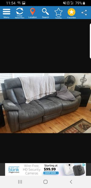 Free couches(2). Grey leather. 4 recliners in them. Rockers. Center counsel with cup holders and storage. for Sale in Arvada, CO