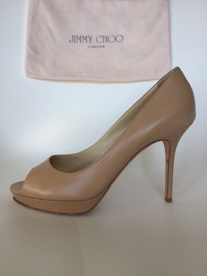 """Jimmy Choo nude leather """"Crown"""" peep-toe pumps for Sale in Downers Grove, IL"""