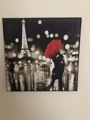 Beautiful black red and Paris painting. Print. Comes on stretcher bars for Sale in Chicago, IL
