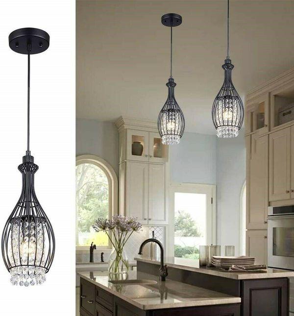 Light Fixture Pendant Vintage Hanging Crystal Black Clear Metal For Indoor Lighting Fixture