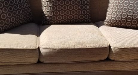 Beautiful Brown Wood Sofa with Pillows***Free Local Delivery*** for Sale in Belle Isle,  FL