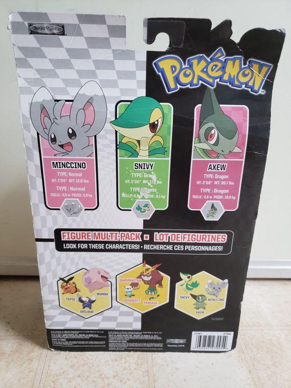 Pokemon Black & White Series 2 Basic Minccino, Snivy & Axew Figure 3-Pack.