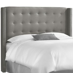 Tufted Mattress Headboard With Nailhead Accents in Gray Linen (Full) for Sale in Upper Marlboro, MD