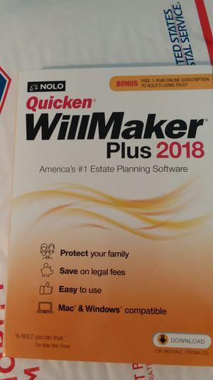 Quicken willmaker plus 2018 for Sale in Portage, PA