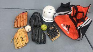 Softball Gear Baseball Gloves, Balls, Bag, and Helmet for Sale in Los Angeles, CA