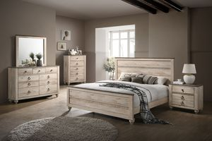 Roundhill Furniture Imerland Contemporary Bedroom Set. White Wash. Queen/King. 3-4-5-6 PCS Available for Sale in Columbus, OH