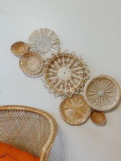 Wicker boho basket wall for Sale in Mount Morris,  MI