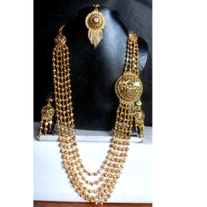 22k gold plated Indian mala layered necklace earrings tikka jewelry set for Sale in Silver Spring, MD