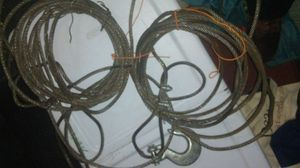 "Approximately 75 ft of half inch braided stainless steel cable with two hooks 1/2 ""hook and at 3/8"" for Sale in Portland, OR"