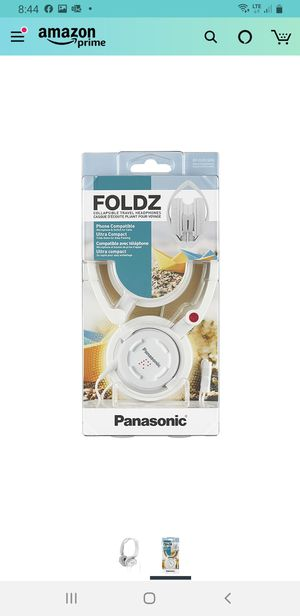 Panasonic FOLDZ On-Ear Stereo Headphones with Mic/Controller (White) Integrated for Sale in Lakeland, FL