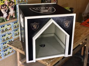 First ever! Indoor luxury RAIDER DOG HOUSE! Created for small/midsize dogs 🐶 19in height 22in wide perfect fit next to a couch! for Sale in Santa Clarita, CA