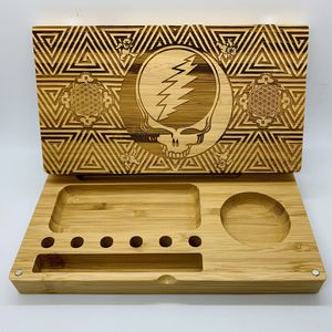 Grateful dead skull laser engraved bamboo rolling tray Christmas gift for Sale in Los Angeles, CA
