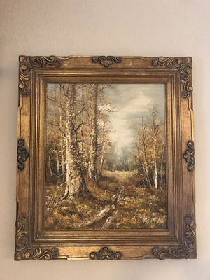 Original J. Medina Large Oil Painting with Gorgeous gold frame for Sale in Phoenix, AZ