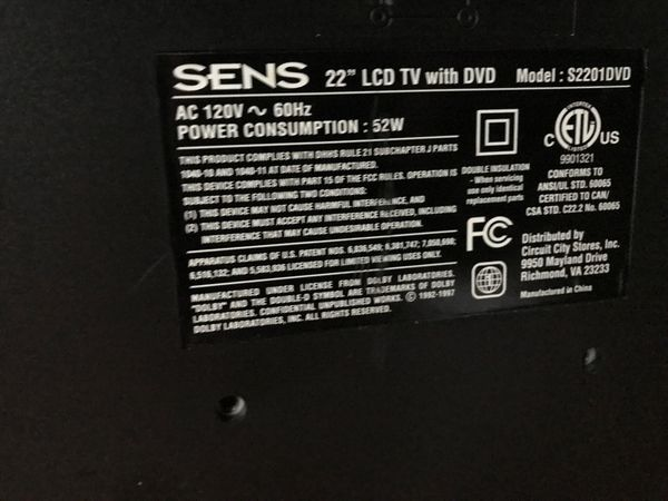"""Sens 22"""" lcd tv with DVD player"""