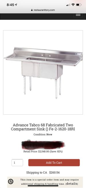 Commercial double kitchen sink for Sale in Santa Ana, CA