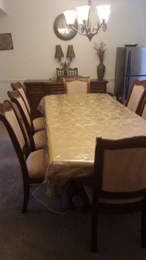 Wood dining table and buffet with chairs for 8 for Sale in Silver Spring, MD
