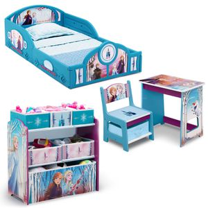 New Disney Frozen II 4-Piece Room-in-a-Box Bedroom Set by Delta Children - Includes Sleep & Play Toddler Bed, 6 Bin Design & Store Toy Organizer and D for Sale in Houston, TX
