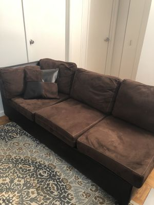 Brown suede couch with leather backing for Sale in New York, NY